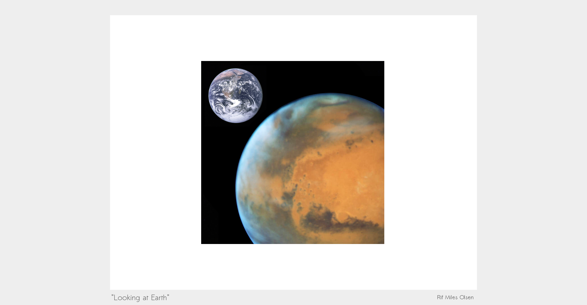 Sustainable Earth, Views from Mars