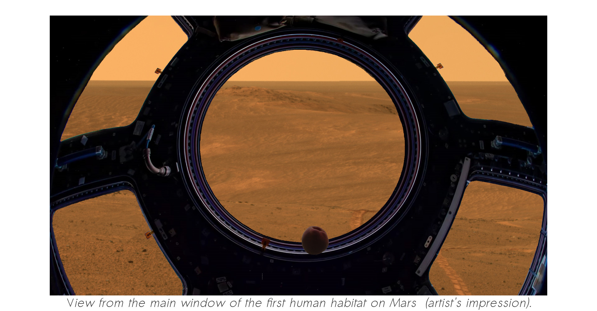 View from of the main window of the first human habitat on Mars (artist's impression).